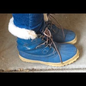 SOREL LINED MANITOU Blue LACE UP WINTER BOOT 5YTH